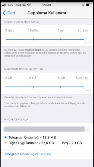 Telegram önbelleği temizleme ve silme