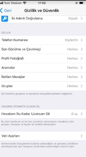 Telegram profil görünürlük ayarları