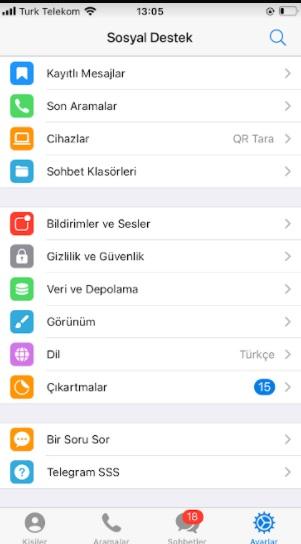 Telegram simgesini değiştirme