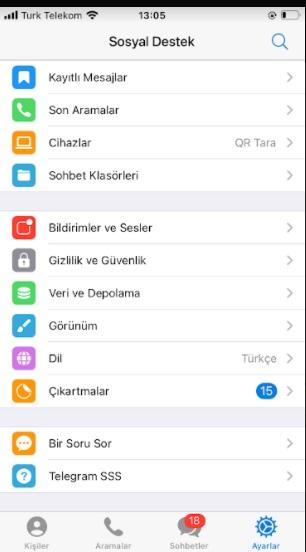 Telegram yazı tipini büyültme