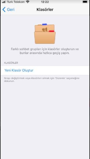 Telegram klasör oluşturma