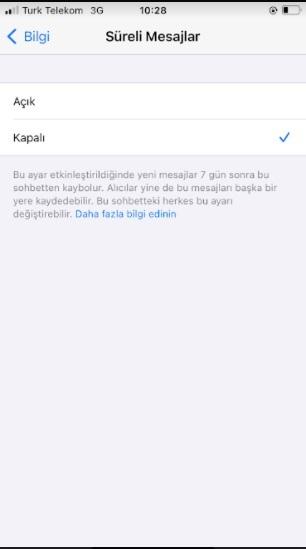 Whatsapp 7 gün sonra siliniyor ve kayboluyor