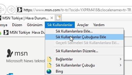internet Explorer sık kullanılanlara ekleme nerede