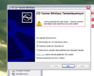 Diske yazılmayı bekleyen dosyalar var hatası