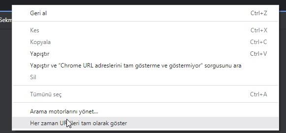 Chrome URL adreslerini tam gösterme ve göstermiyor